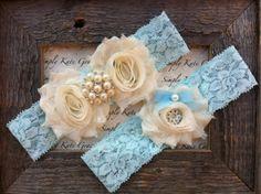 Something Blue Wedding Garter- Vintage Wedding Bridal Garter and Toss Garter- Ivory and Pearl Rhinestone Garter-Toss Garter. $21.00, via Etsy.