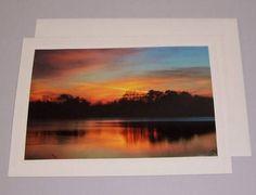 Sunrise Reflections Dark Trees Orange Sky by KindredSpiritImages