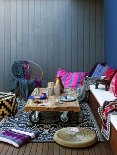 I could make my balcony all bohemian... Then the cushions might stand a chance against the poochies @Helen Palmer Westwood