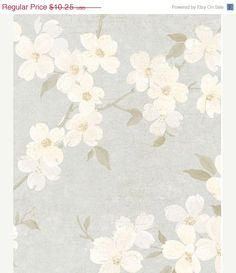 Asian Inspired Dogwood Blossoms on Silver by WallpaperYourWorld