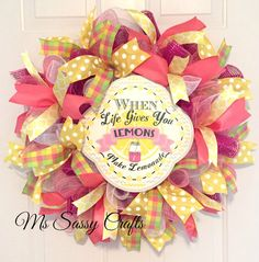 Spring Summer Whimsical Deco Mesh Wreath by MsSassyCrafts on Etsy