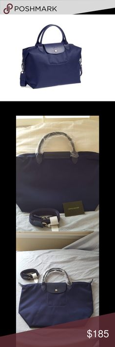 NWT Longchamp Le Pilage Neo Medium Tote Longchamp Tote comes with adjustable canvas strap. Lightweight and great for everyday or travel. Body nylon and textured leather strap and flap. Longchamp Bags Crossbody Bags