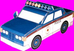 FREE Printable 3-D Paper Police Car - great for kids, teachers and parents