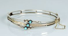 Antique Victorian Silver Gilt Turquoise  Hinged Bracelet