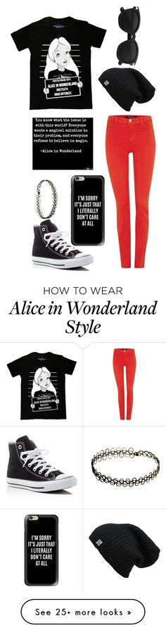 """""""Black and Red"""" by themadhatterxox on Polyvore featuring Disney, J Brand, Converse and Casetify"""