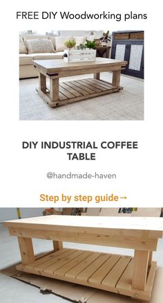 I've seen this industrial styled coffee table over and over online at World Market and have always wanted to create some plans for it. Thanks to my good friend and fellow builder Linda, you can now build this stylish farmhouse coffee table.  @handmade-haven  #Unique #woodworking #workshop #Projects man cave #Cnc projects #Patterns #Bed #Shop ideas #Grey #Jigs homemade #Plans furniture #Wood crafts diy #Plans patterns #Videos #Shop layout floor plans #Tools jigs #Rockler Cool Woodworking Projects, Unique Woodworking, Cnc Projects, Woodworking Workshop, Homemade Furniture, Diy Furniture Plans, Farmhouse Furniture, Homemade Coffee Tables, Diy Home Decor Projects