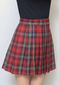 Peekaboo Vintage 90s grunge red vintage plaid mini skirt.