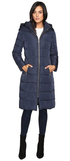 Cole Haan 40 Quilted Down Coat with Oversized Hood (Dark Navy) Women's Coat - Cole Haan, 40 Quilted Down Coat with Oversized Hood, 356MD207-438, Apparel Top Coat, Coat, Top, Apparel, Clothes Clothing, Gift, - Fashion Ideas To Inspire