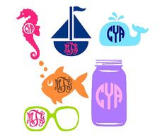 Summer Monogram Decal Design - Car Decal - Nautical - Ocean - Beach - Summer - Sailboat Whale Seahorse Sunglasses Fish Mason Jar on Etsy, $4.00