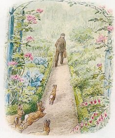I enjoy the soft, detailed, floral feel of Beatrix Potter. Her use of red to move your eye around the page is great. Love red myself.
