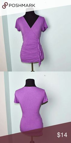 New York & Company Lilac Colored Ruffle Blouse In excellent condition! Very comfortable, stretchy, and lightweight! Buy 3 items and get 1 free plus 15% off your purchase total! New York & Company Tops Blouses