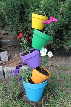 Topsy Turvy Flower Pots.  The more color the better.