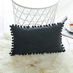 Topfinel Black Oblong Cushion Covers 12x20 Inch Velvet Soft Decorative Throw Pillowcase for Office Sofa Bedroom 30cmx50cm,1 Piece: Amazon.co.uk: Kitchen & Home