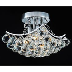 @Overstock - This beautiful flushmount chandelier has 4 lights, a striking chrome finish, and approximately 36 clear crystals that would make an elegant and enchanting addition to your kitchen or dining room.http://www.overstock.com/Home-Garden/Indoor-4-Light-Chrome-And-Crystal-Flushmount-Chandelier/5142970/product.html?CID=214117 $99.99
