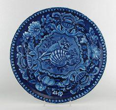 ANTIQUE STAFFORDSHIRE HISTORICAL DARK BLUE TRANSFERWARE SEASHELL DINNER PLATE