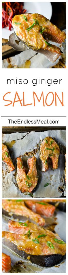 Ginger Miso Salmon Steaks are the perfect healthy weeknight fish dinner recipe. Salmon Recipes, Fish Recipes, Seafood Recipes, Asian Recipes, Cooking Recipes, Healthy Recipes, Salmon Meals, Recipies, Steak Recipes