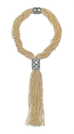 Seed Pearl and Diamond Necklace