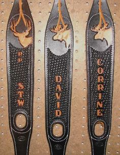 Singletree custom made leather rifle slings, hand tooled, and personalized. Leather Craft Tools, Leather Projects, Leather Crafts, Leather Carving, Leather Tooling, Leather Rifle Sling, Gun Holster, Custom Leather, Hunting Stuff