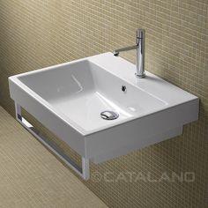 Wall-mounted washbasin / rectangular / ceramic / chrome ZERO 60 CATALANO