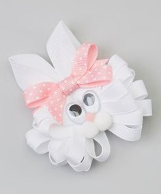 Another great find on #zulily! White & Light Pink Polka Dot Bunny Clip #zulilyfinds