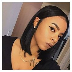 Aliexpress Wholesale Real Hair Black Bob Wig Cut Lace Front Short... ❤ liked on Polyvore featuring intimates