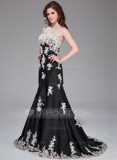 Trumpet/Mermaid Sweetheart Sweep Train Taffeta Evening Dress With Appliques Lace (017041032) - JJsHouse