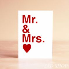 Wedding Congratulations Card Engagement Card Mr & Mrs by Etsy seller sadshop.