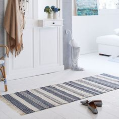 Teppich Kamur, handgefertigt, Streifendesign, Baumwolle Katalogbild