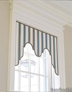 """""""Lambrequins are a good solution when you want shape and movement but not 2,000 yards of smothering silk taffeta,"""" says designer David Kleinberg. """"The hall has four windows — full-blown curtains and valances would have been overwhelming.""""   - HouseBeautiful.com"""