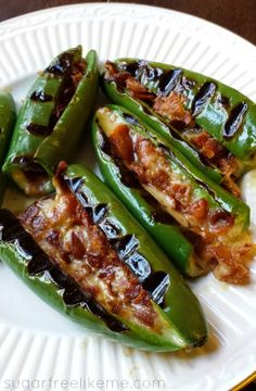 Bacon and Cheese Stuffed Poblano Peppers Shared on https://www.facebook.com/LowCarbZen | #LowCarb #Lunch #Dinner