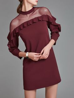 Shop Midi Dresses - Wine Red See-through Look Casual Polyester Crew Neck Midi Dress online. Discover unique designers fashion at StyleWe.com.