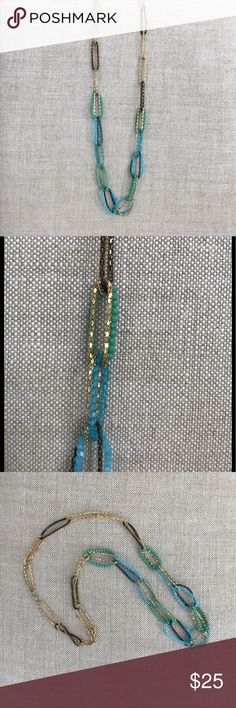 Turquoise Blue Green Long Beaded Necklace Bright and beautiful long turquoise blue and green beaded necklace. This was purchased at a boutique years ago, I wore it once and it's been sitting in my jewelry drawer since. Its in excellent condition. The perfect accessory with tops and dresses this summer! Sorry no holds or trades. I will be adding much more to my closet, thank you for stopping by! 💗 Jewelry Necklaces