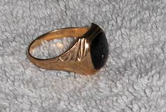 Vtg Black Onyx Stone Ring Marked H*A 10K Gold Band Jewelry Ring Size 7 1/2 to 8 #HA10K #Vintage