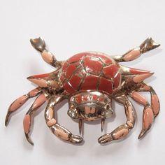 Vintage Nettie Rosenstein Gold On Sterling Silver Enamel Rhinestone Crab Pin