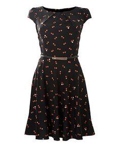 Black (Black) Apricot Black Dot Print Cap Sleeve Dress | 270755501 | New Look