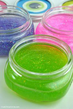 Eyeball Glitter Slime Mason Jars DIY