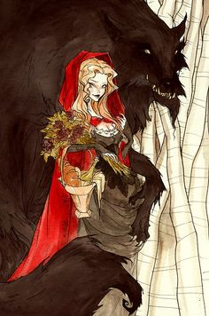 """ Fairy Tales by Abigail Larson (From the top: The Little Mermaid, Little Red Riding Hood, Beauty & The Beast, Snow White, and Sleeping Beauty. Der Steppenwolf, Abigail Larson, Charles Perrault, Red Ridding Hood, Art Manga, Wolf Love, Big Bad Wolf, Red Hood, Little Red"
