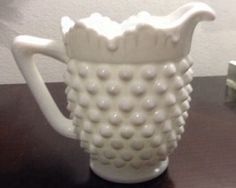 Vintage White Milk Glass Hobnail Creamer Server Fenton