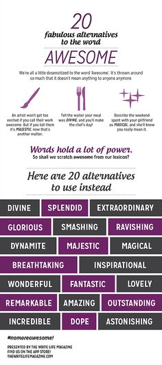 """20 Fabulous alternatives to the word 'awesome'."""