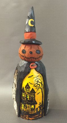 A personal favorite from my Etsy shop https://www.etsy.com/listing/463755565/hand-carved-original-jacko-lantern-witch