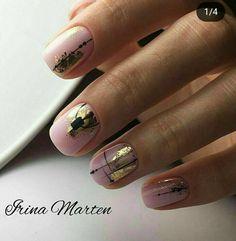 Installation of acrylic or gel nails - My Nails Cute Nails, Pretty Nails, Hair And Nails, My Nails, Foil Nail Designs, Foil Nails, Nails With Foil, Foil Nail Art, Minimalist Nails