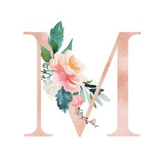 Floral alphabet blush peach color letter m with flowers bouquet composition unique collection for wedding invites decoration and many other concept ideas glitter silver wedding invitations Flower Letters, Flower Frame, M Wallpaper, Wallpaper Backgrounds, Alphabet, Illustration Blume, Minimalist Wedding Invitations, Peach Colors, Cute Wallpapers