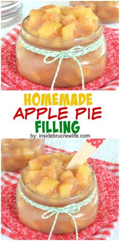 Apple Pie Filling - this easy pie filling comes together in minutes. Make this easy recipe for fall pies or desserts!Homemade Apple Pie Filling - this easy pie filling comes together in minutes. Make this easy recipe for fall pies or desserts! Fruit Recipes, Apple Recipes, Fall Recipes, Sweet Recipes, Dessert Recipes, Homemade Apple Pie Filling, Apple Filling, Homemade Pie, Recipe For Apple Pie Filling