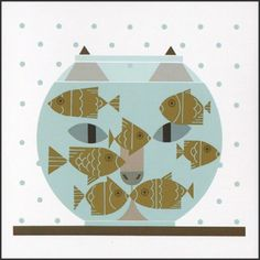 Edie - Fishful Thinking (Cat & Fish Bowl) - Notecard Pack