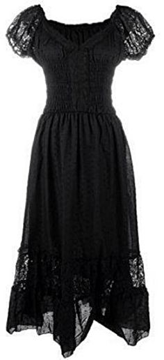 Boho inspired black cap sleeve lace trim dress <3