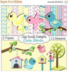 50% OFF TODAY Cute Birds Clip Art  Scrapbook Kit  for Card Making, Webdesign, Crafts, Digital Scrapbooking, Instant Download  #scrapbooking #scrapbookingkits #digiscrapdelights #birds #clipart