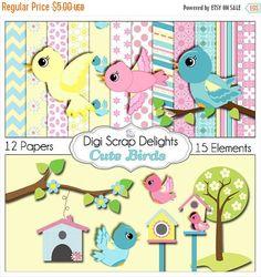 Cute Birds Clip Art Scrapbook Kit for Card Making, Webdesign, Crafts, Digital Scrapbooking Scrapbook Kit, Digital Scrapbook Paper, Scrapbook Photos, Scrapbook Templates, Bird Paper Craft, Paper Crafts, Web Design, Bird Wallpaper, Clip Art