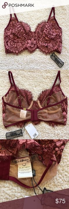 NWT: For Love & Lemons Skivvies Loucette Bra, S NWT: For Love & Lemons Skivvies Loucette underwire longline bra in wine red, mauve and nude. Bra is unlined, has eyelash trim lace cups with mesh-lined bottom half, adjustable straps and gold hardware. Brand new with tags, no bag. Probably fits 32B-34B. Size: Small For Love and Lemons Intimates & Sleepwear Bras