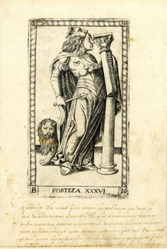 WL female figure in profile to r with a broken pillar, a lion and a lion's skin on her head; after the so-called Tarocchi Cards of Mantegna.  Engraving