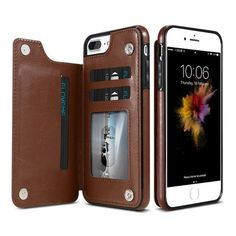 Flip Style Leather Wallet Case For Samsung Galaxy S8 S7 Edge and IPhone X 8 7 6s 6 Plus w/card stand